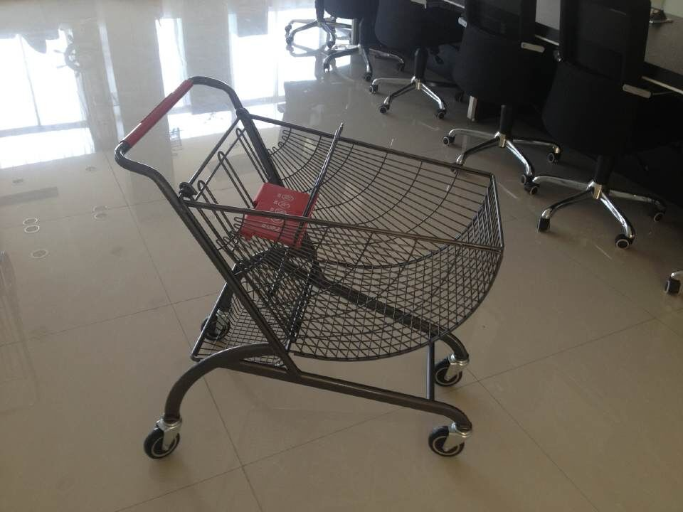 Fan shape small store shopping cart with color powder coating and amercian handle