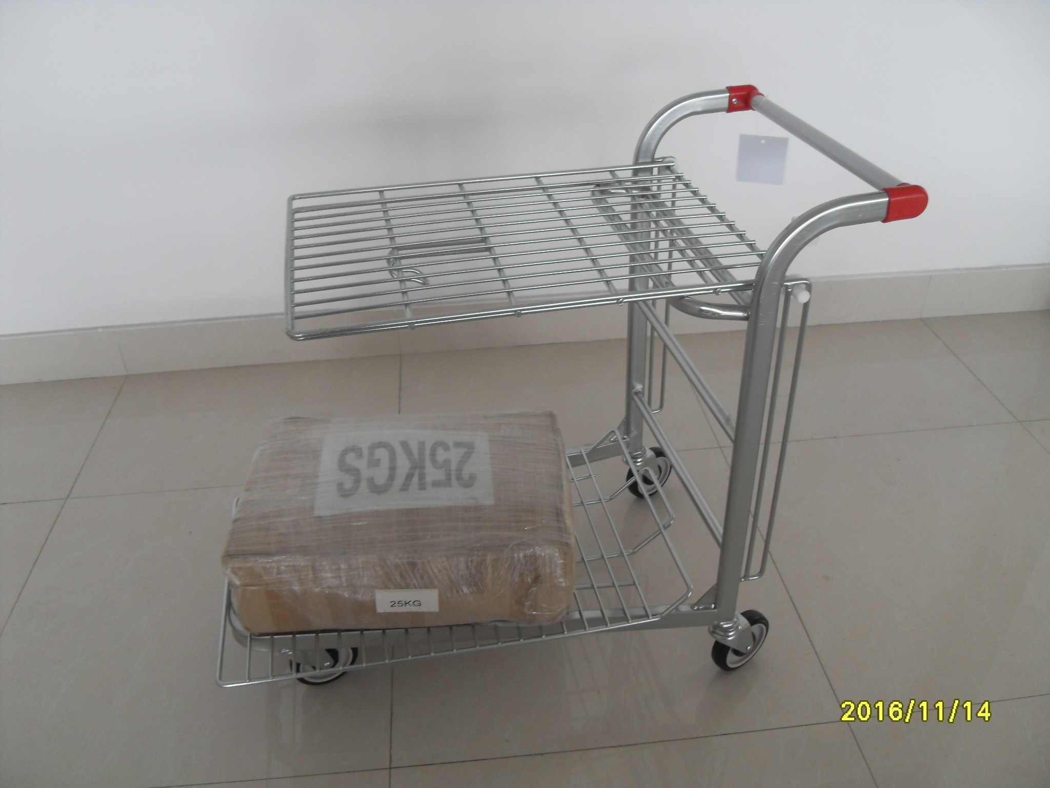 Logo Printing Factory Trolley With Handle , Heavy Duty Metal Trolley