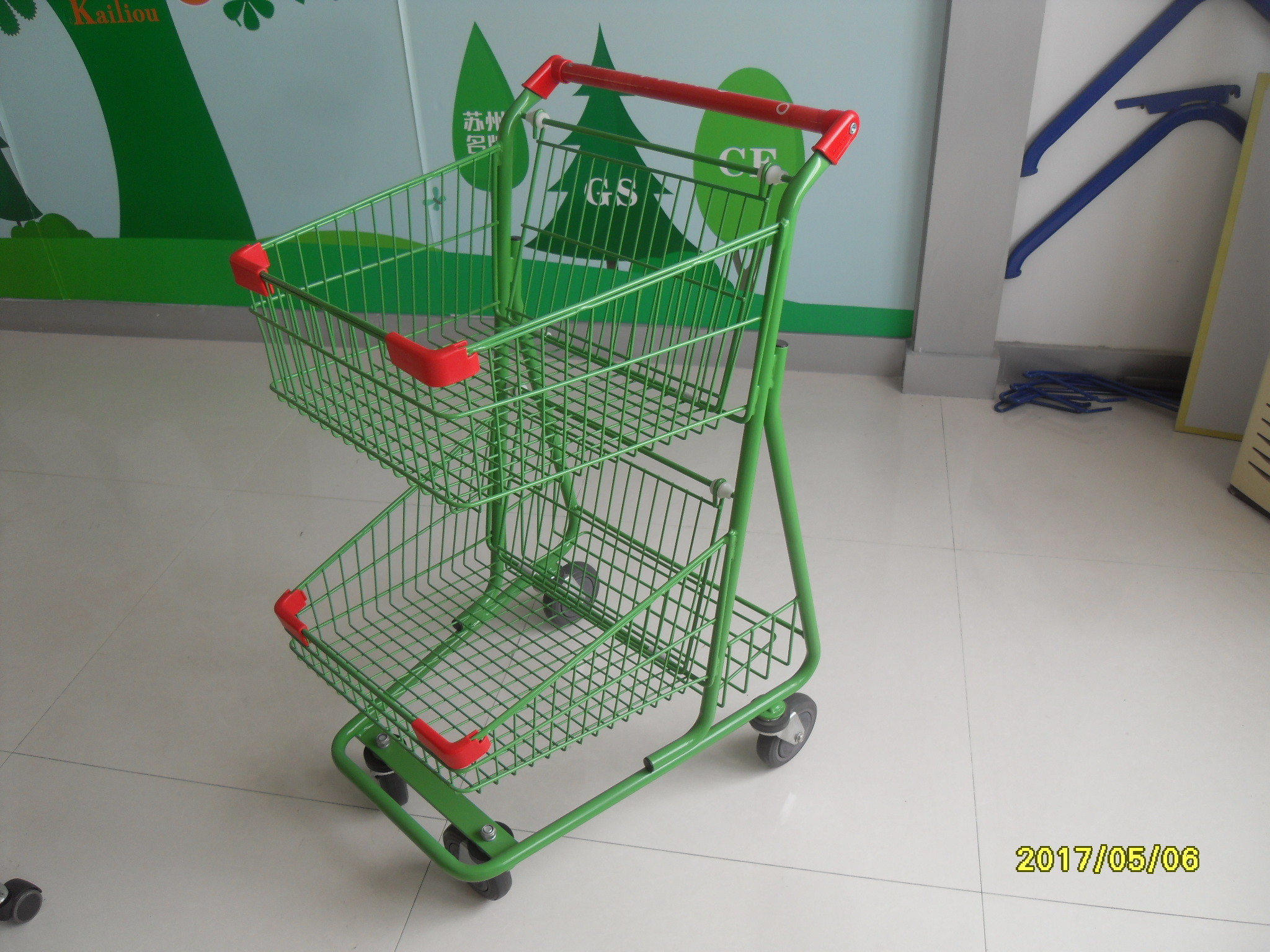 Two Basket Grocery Shopping Trolley Wire Shopping Cart 656x521x1012mm