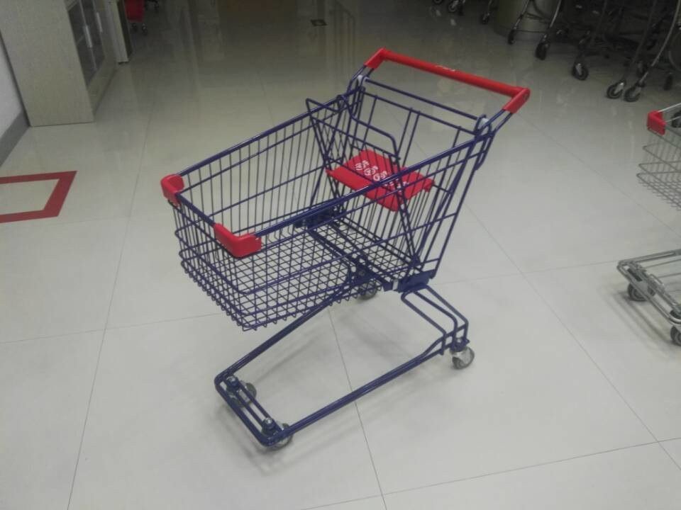 Plastic Safety 75L Retail Wire Shopping Trolley With Easy Pushing Handle