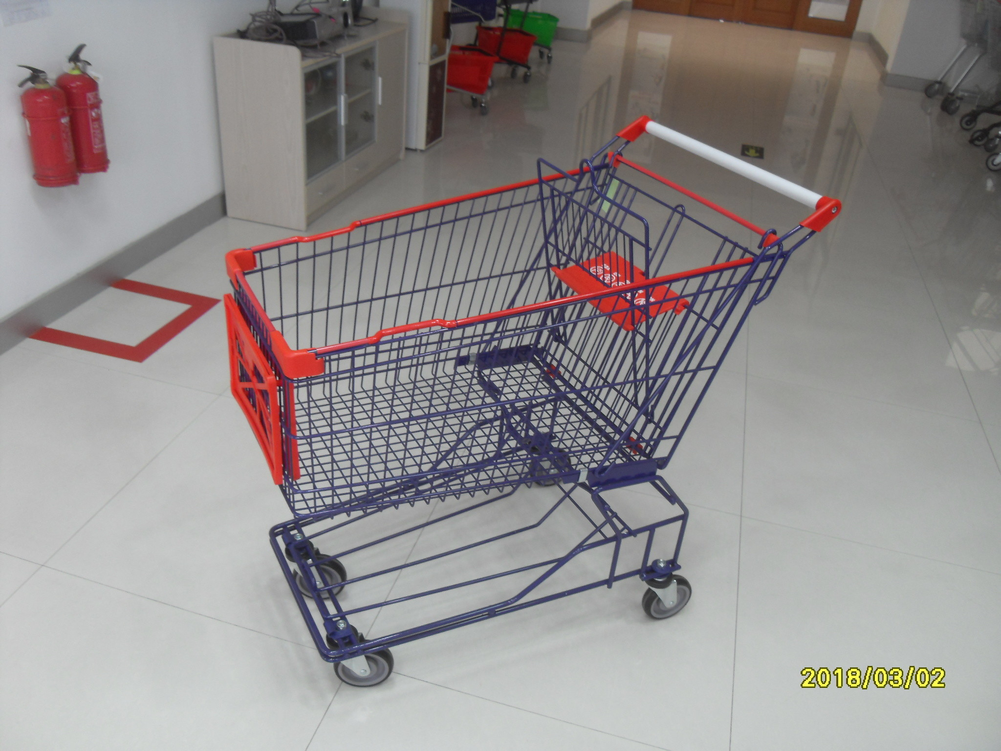 Supermarket 150L Wire Shopping Carts With 4 Flat Casters 1010x580x1016mm
