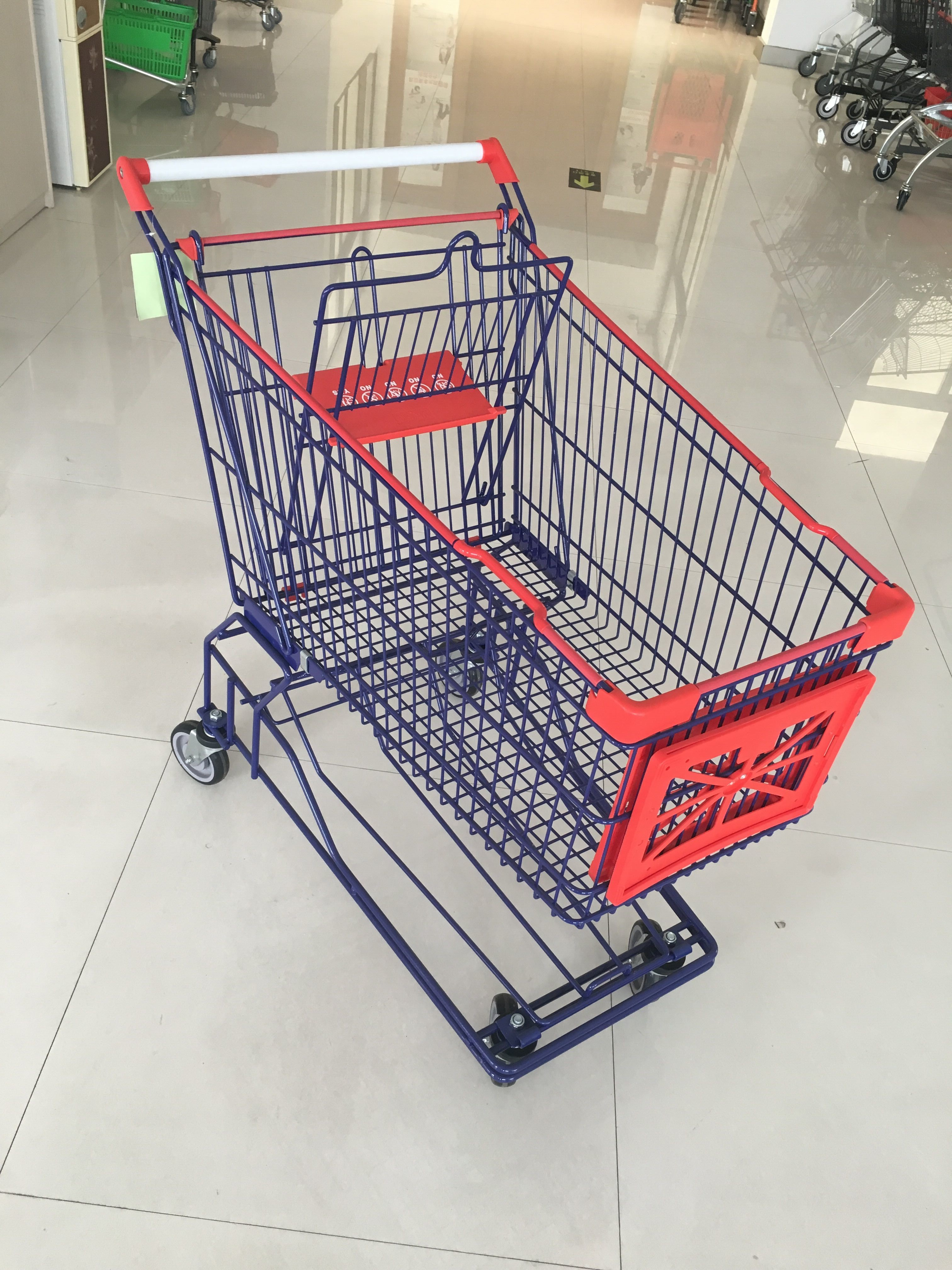 150 L 4 Wheel Supermarket Shopping Trolley Zinc Plated And Red Plastic Parts